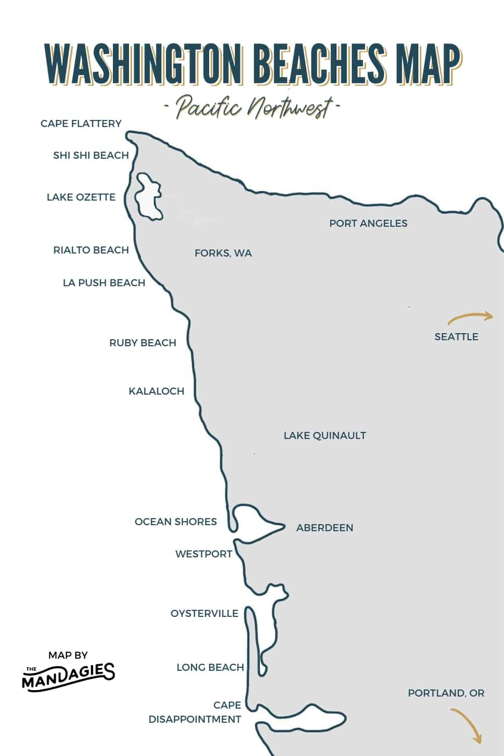Map of Beaches in Washington State