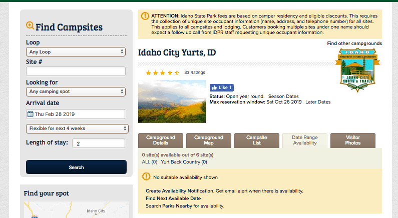 Idaho City Yurts Reservation System Screenshot