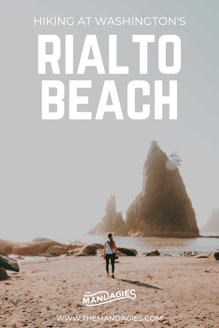 Explore Rialto Beach, on of the Washington coast's most beautiful beaches! Discover towering sea stacks, tide pools, unique landscapes, rocky shores, and moody rainforested trees in the Olympic National Park. This is an Olympic Peninsula hike you don't want to miss! #PNW #pacificnorthwest #washington #rialtobeach #holeinthewallhike #hiking #pacificocean #beachcamping #sunset