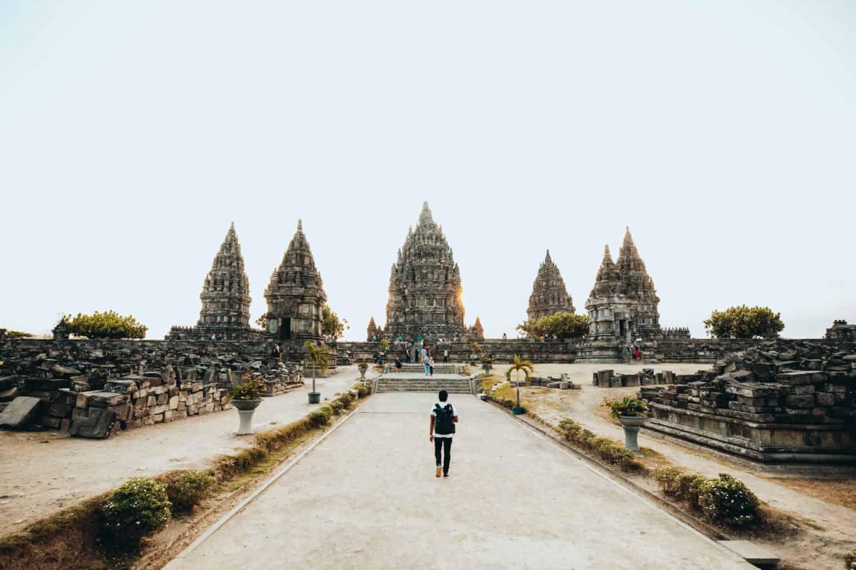Berty walking around Prambanan Temple - Yogyakarta, Indonesia