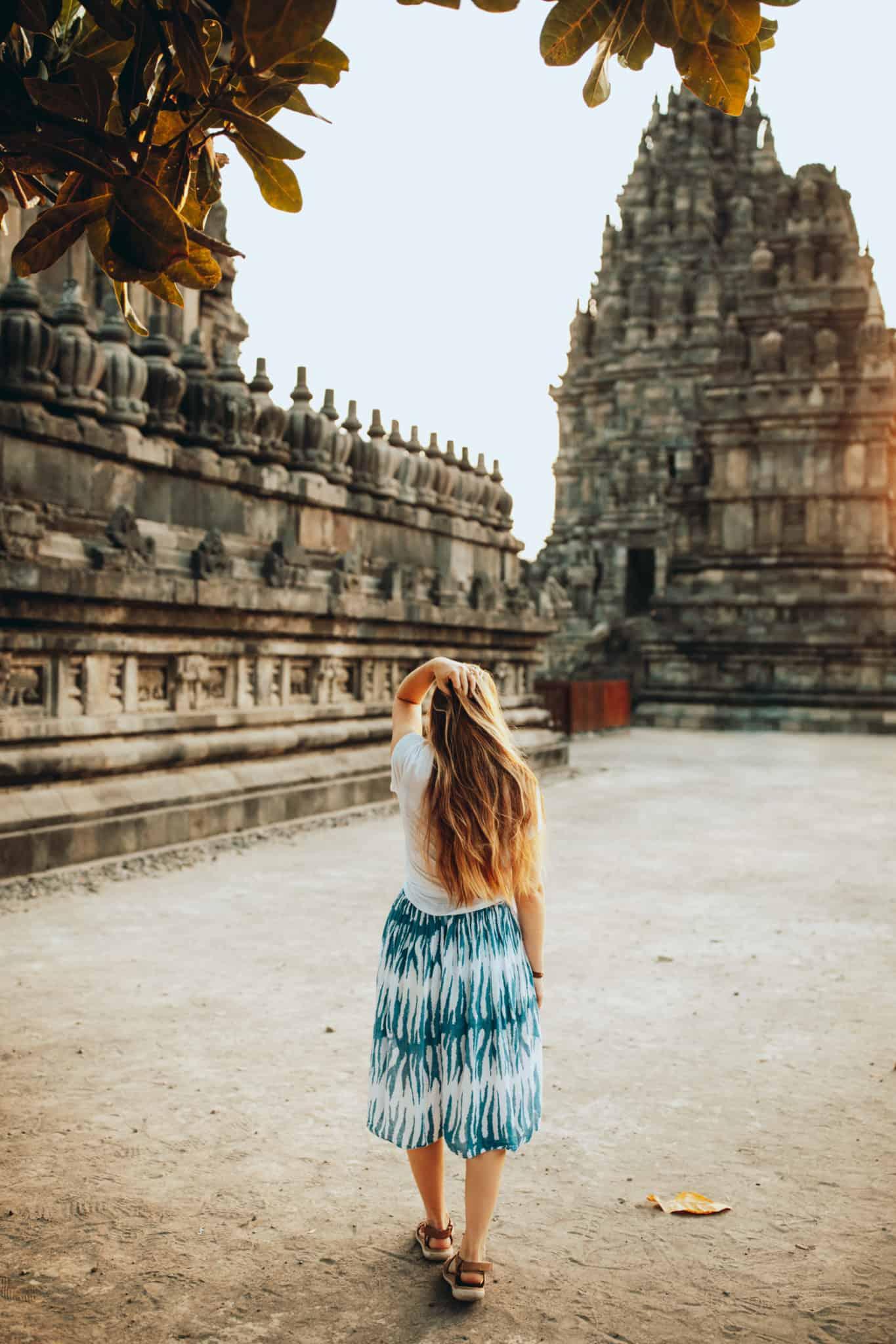 Emily walking at Prambanan Temple complex