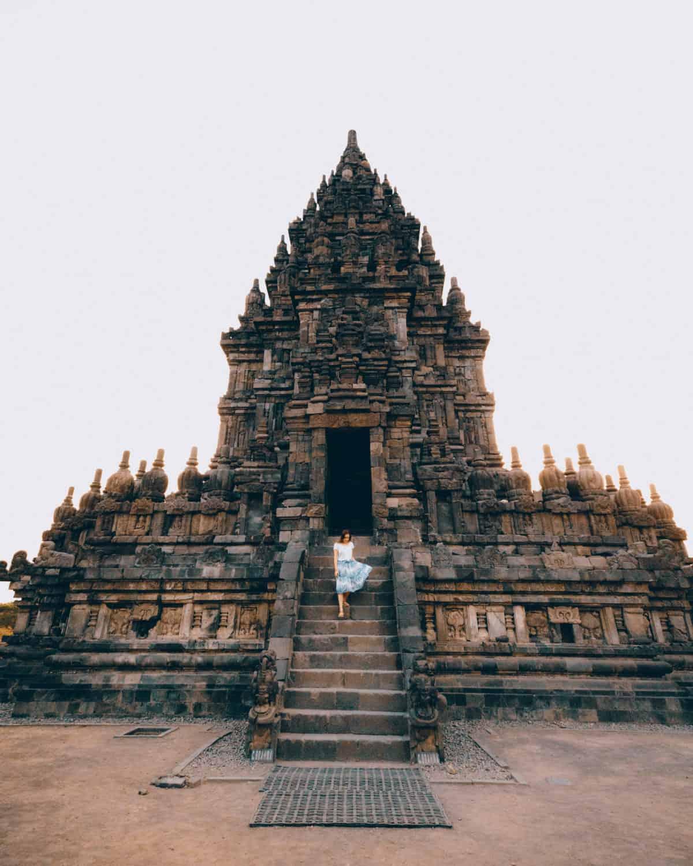 Emily walking on stairs Prambanan Temple