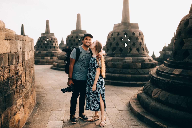 Berty and Emily at Borobudur Temple - TheMandagies.com