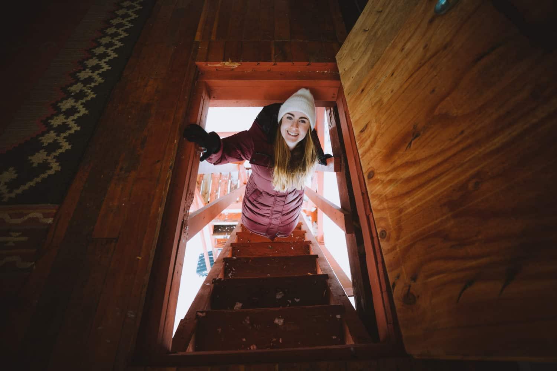 Emily opening Crystal Peak trap door