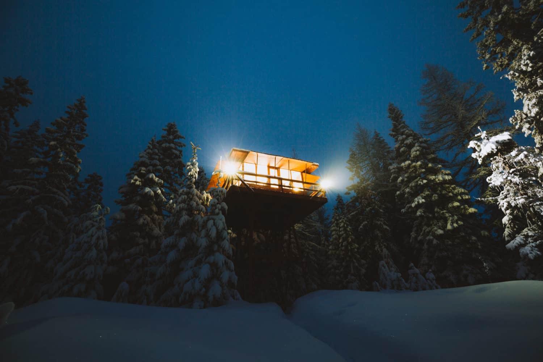 Crystal Peak Lookout in Fernwoood Idaho at Night