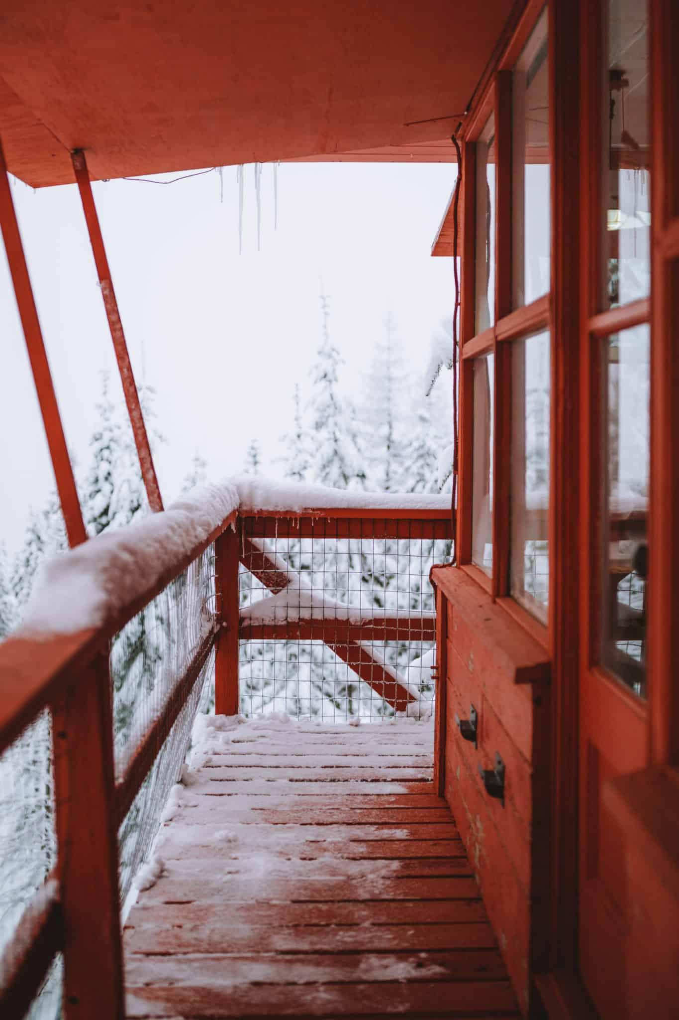 Crystal Peak Lookout Deck in winter