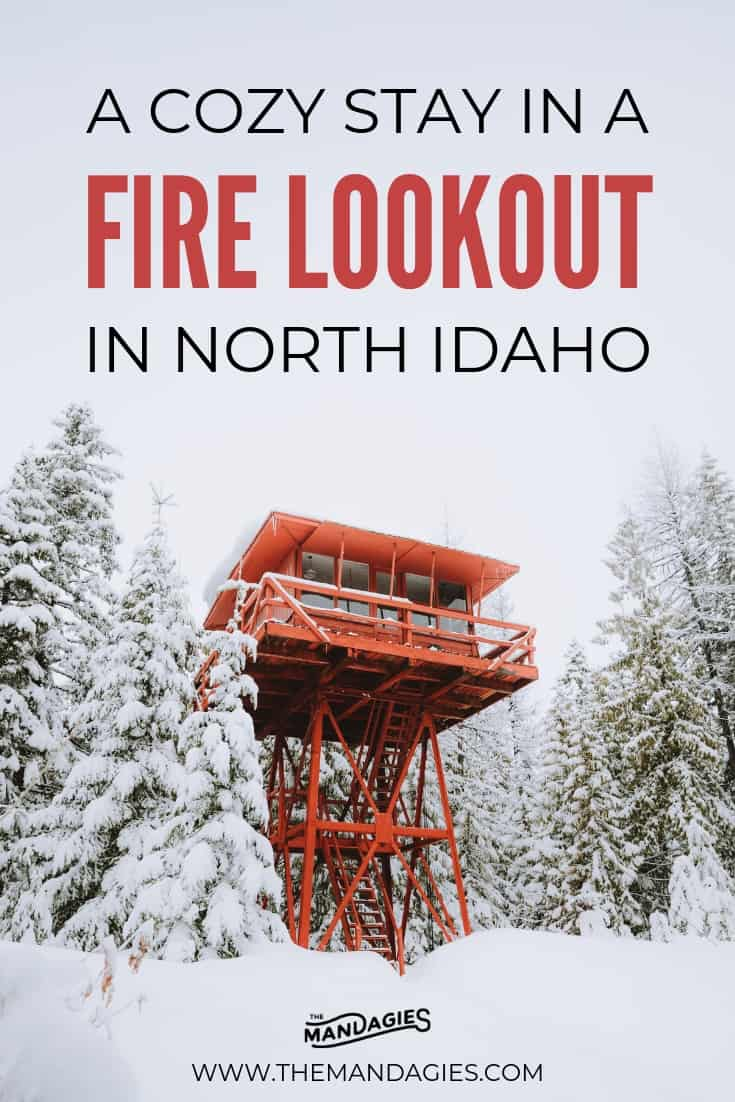Ready to elevate your winter experience? Stay in a magical fire tower in North Idaho - all inclusive with sauna, a cozy bed, snowshoeing trails, and so much more! #PNW #idaho #winter #idaho #firetower #firelookout #crystalpeaklookout #airbnb #travel #adventure