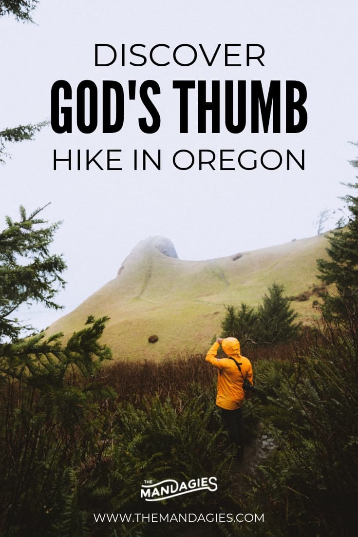 Ready for a new adventure in Oregon? Explore God's Thumb Hike in Lincoln City on the Oregon Coast! This Pacific Northwest trail has everything from mossy spruce trees, open meadows, ocean views, and a surprise at the end! Save this pin for some hiking inspiration! #travel #adventure #hike #oregon #oregoncoast #lincolncity #landscape #pacificocean #blogging #travelblog #themandagies