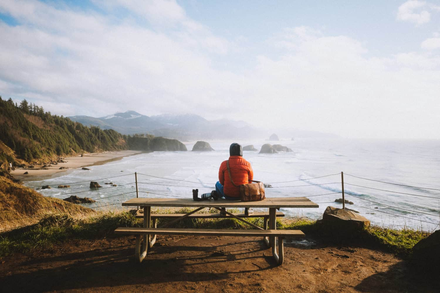 Berty sitting on a bench - Ecola State Park, Oregon - TheMandagies.com