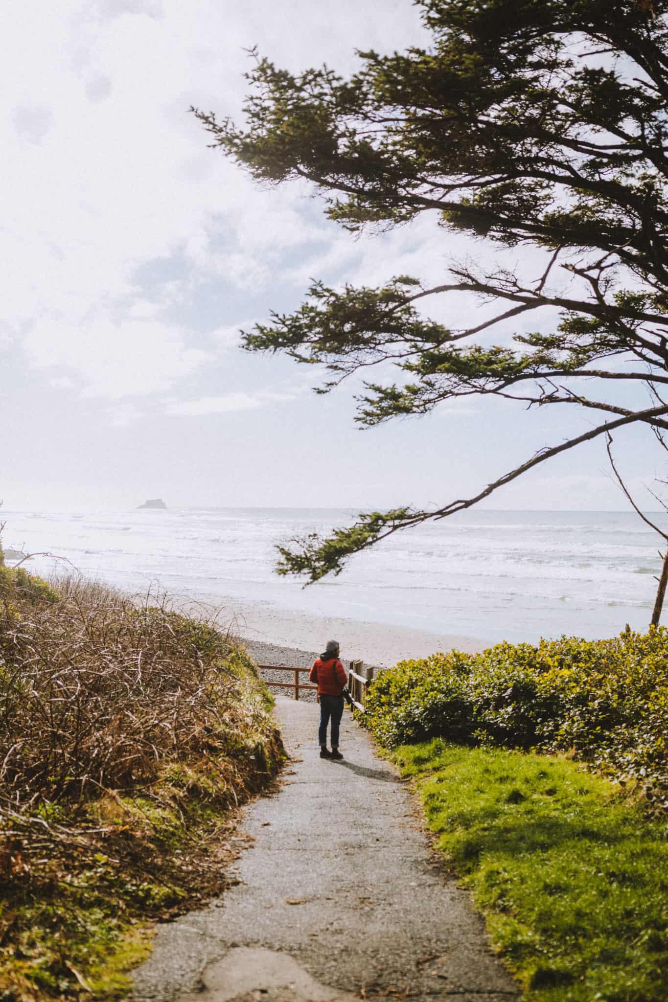 Berty on trail at Hug Point Beach - Oregon Coast - TheMandagies.com