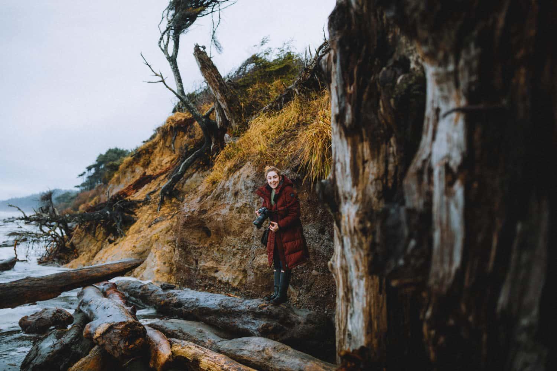 Emily Mandagie hiding from high tide