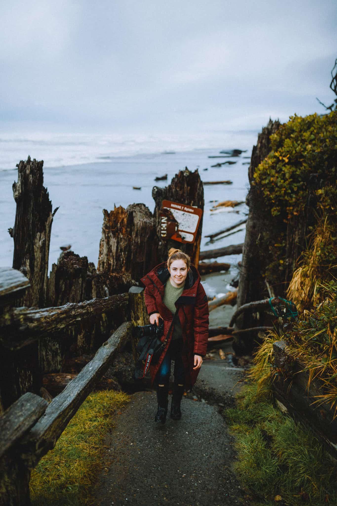 Emily Mandagie on Kalaloch Tree Root Cave trail
