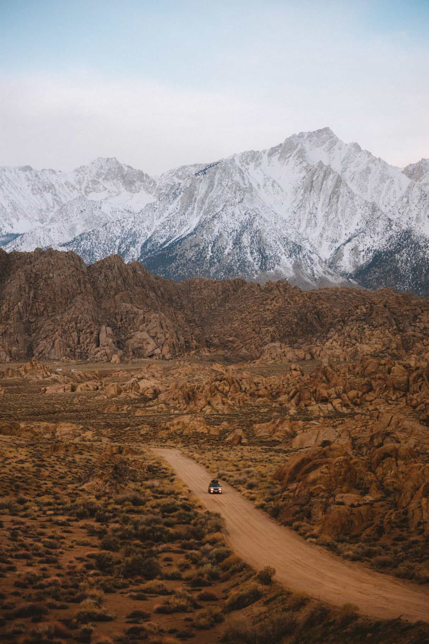 layers of Alabama Hills, Mt Whitney
