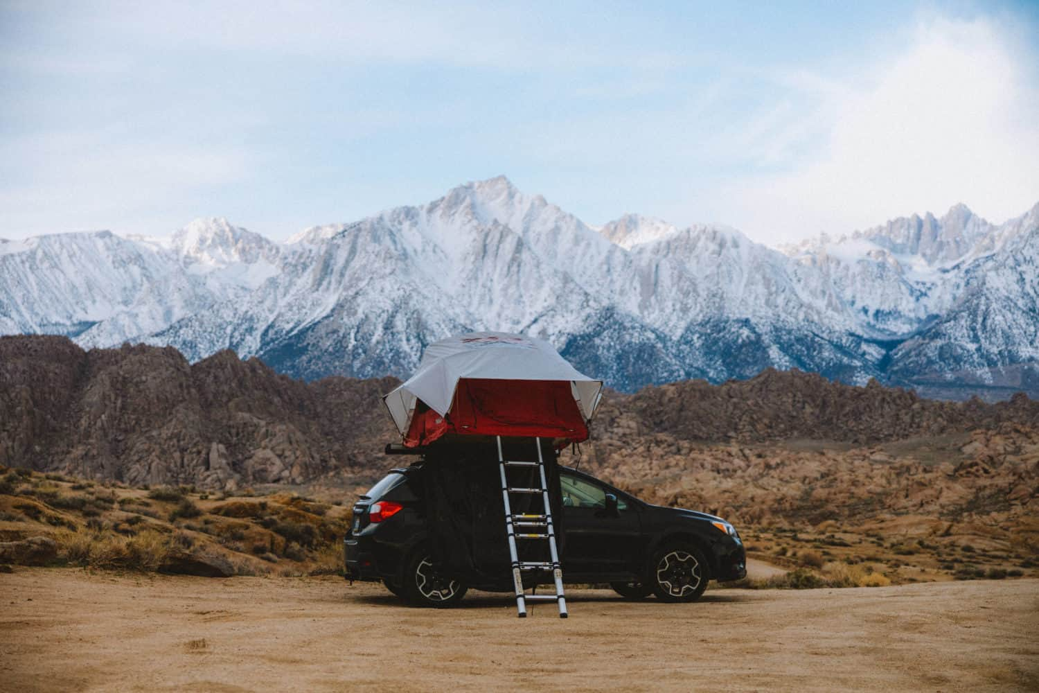 car top tent while camping in Alabama Hills