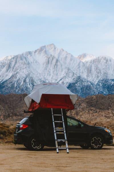 car top tent at Alabama Hills