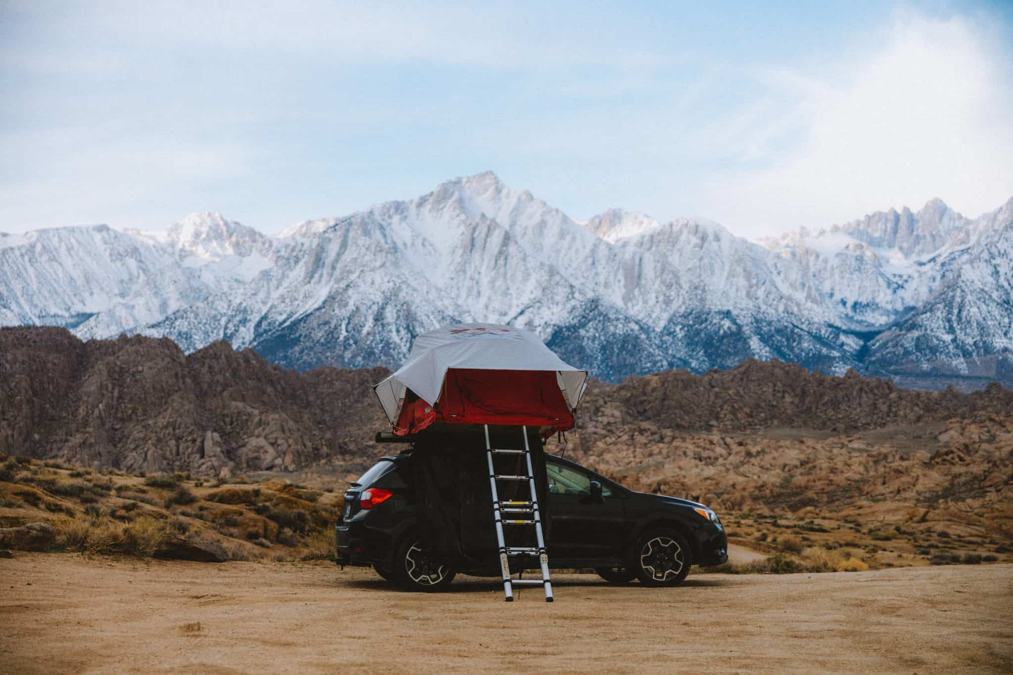 car top tent at Alabama Hills