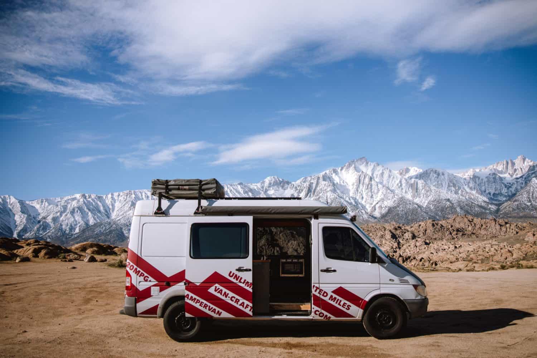 Sprinter van for camping at Alabama Hills, California