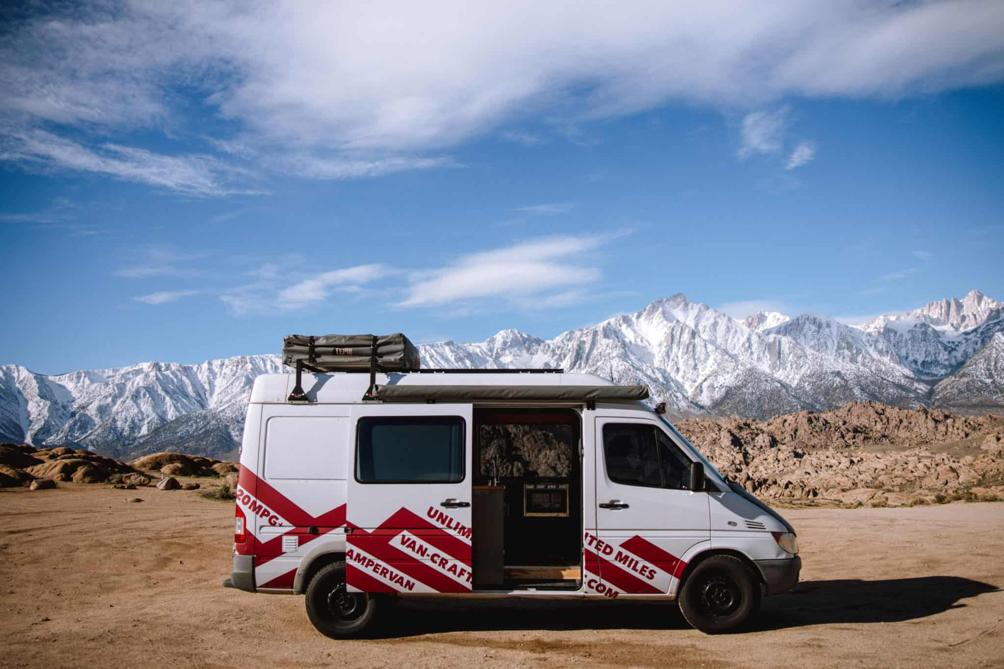 Sprinter van for camping at Alabama Hills, California