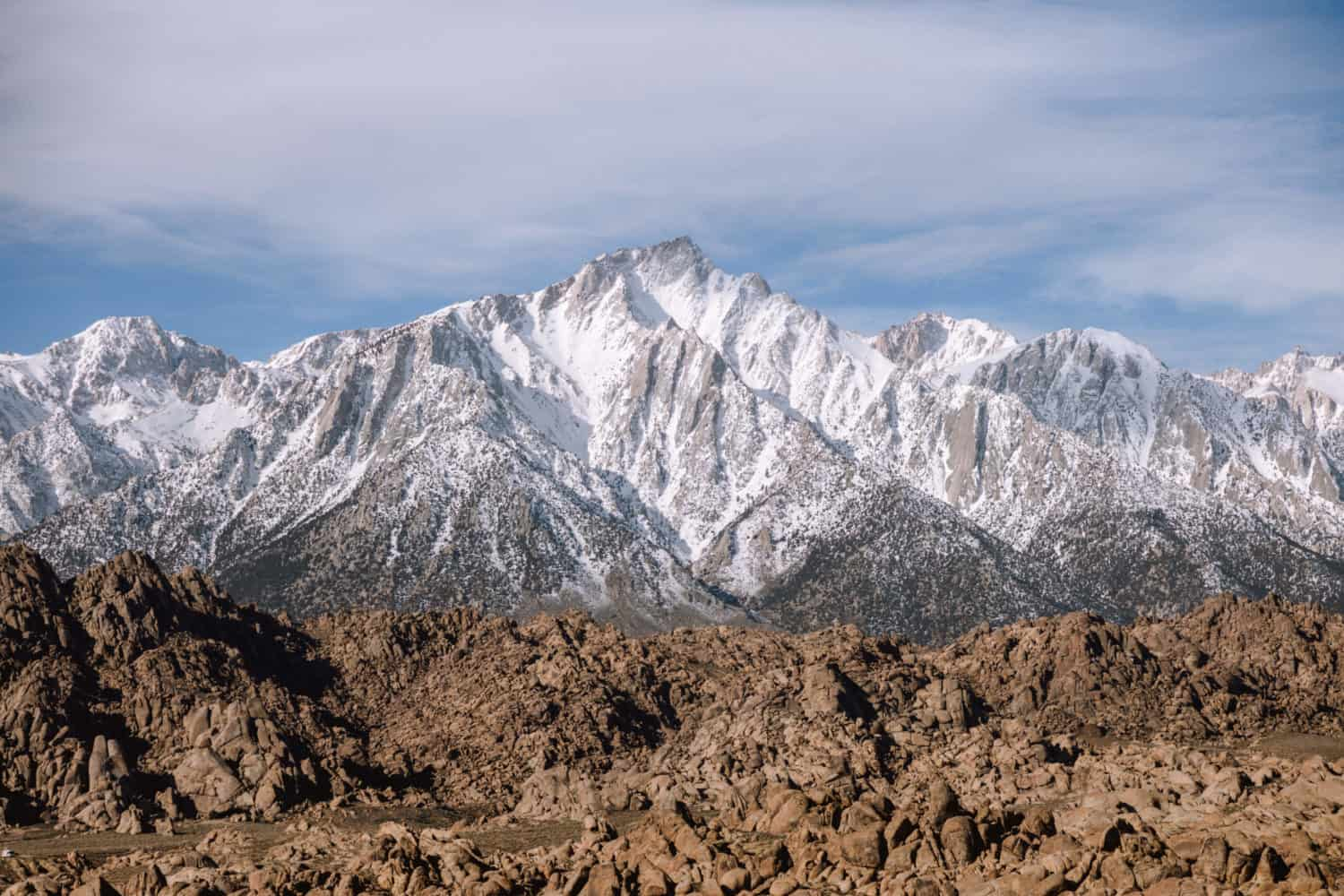 View of Mt Whitney at Alabama Hills, California