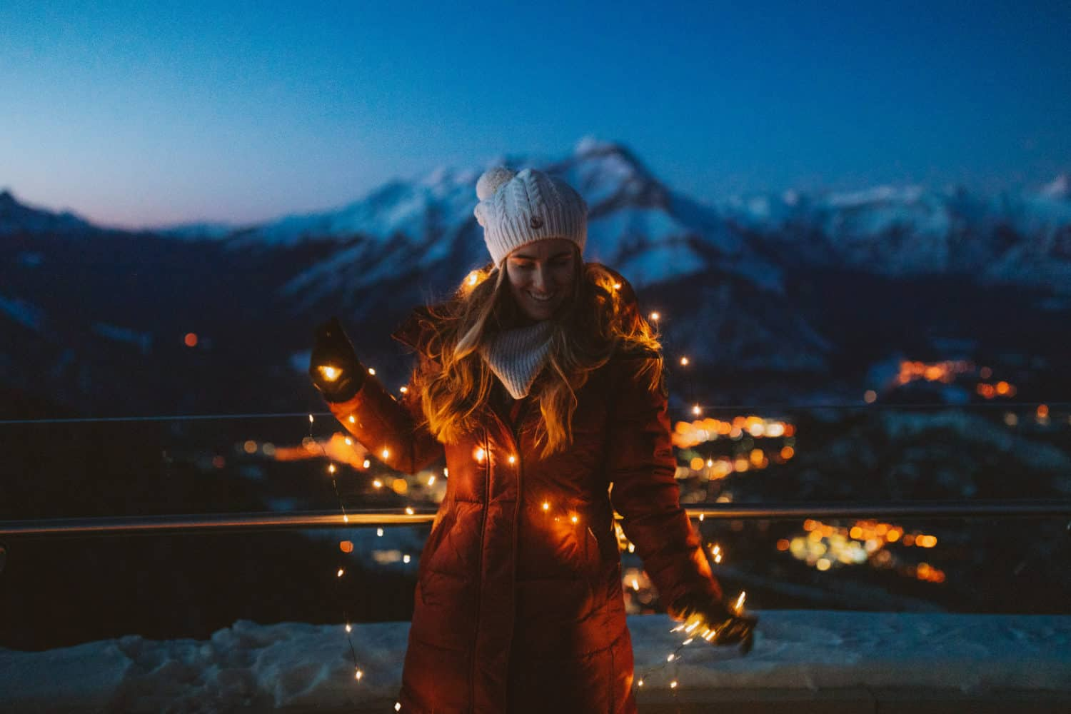 Emily Mandagie with fairy lights at Banff Gondola - TheMandagies.com