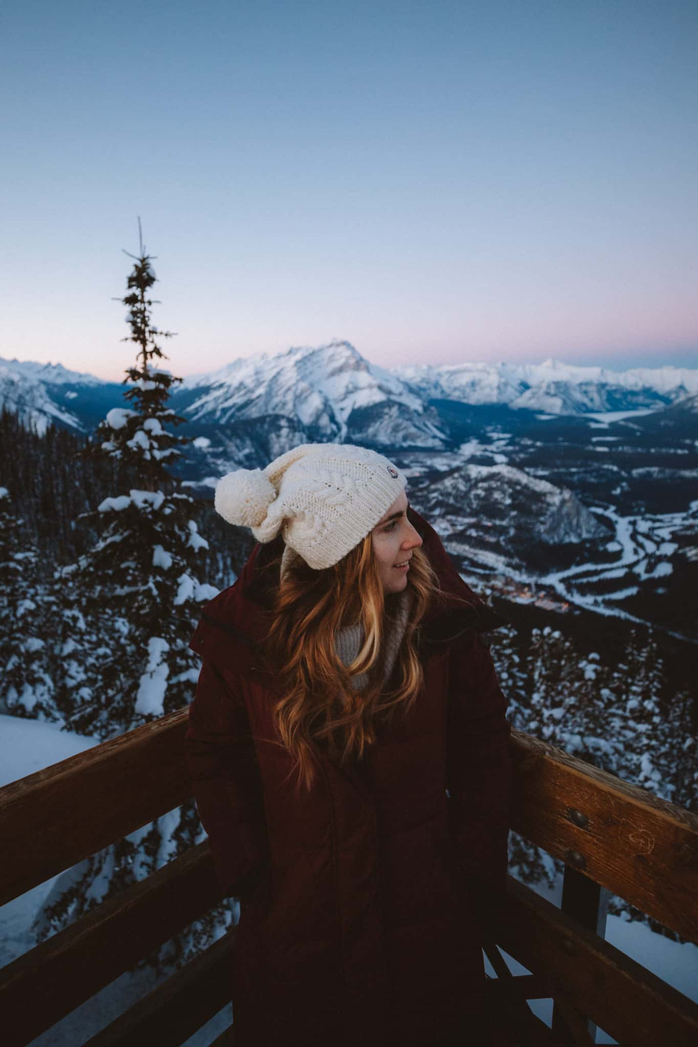 Emily at Sulphur Mountain during blue hour -TheMandagies.om