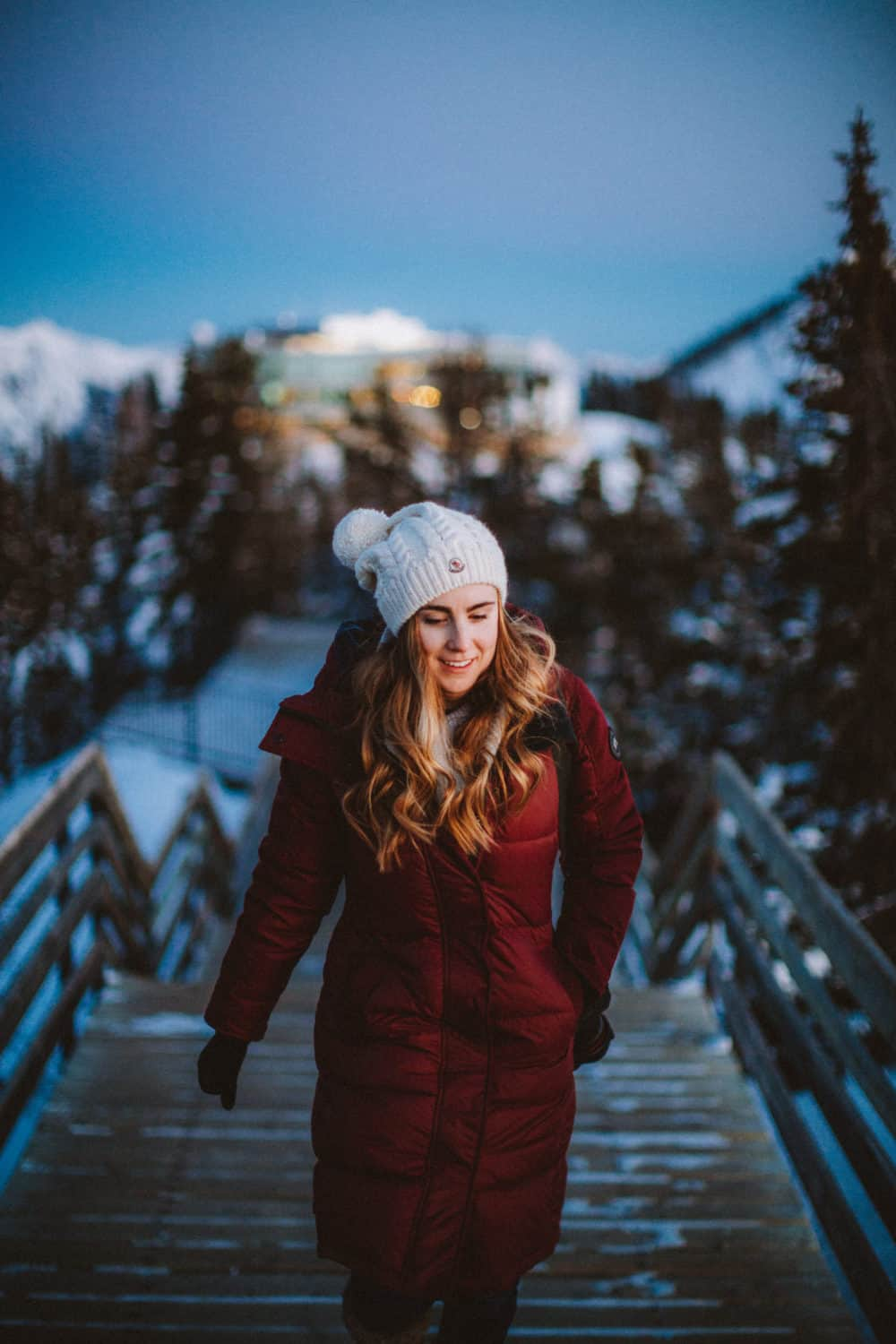 Emily wearing winter parka - What to pack for Banff in winter - TheMandagies.com