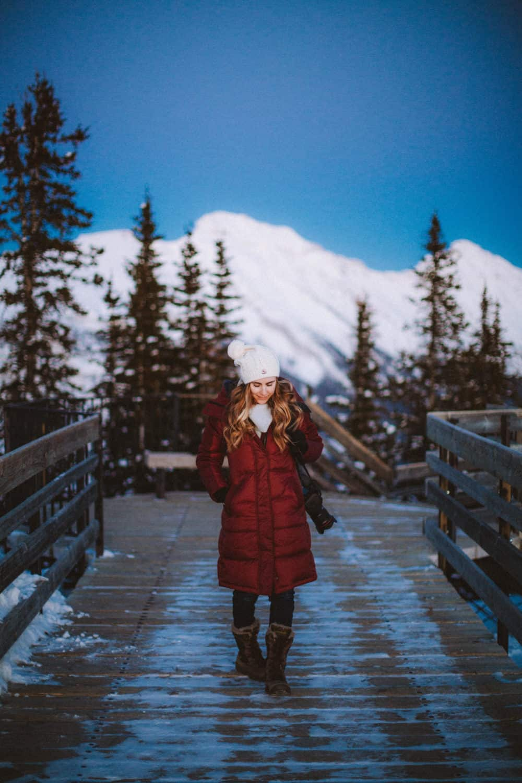 Emily walking on Sulphur Mountain Summit Boardwalks