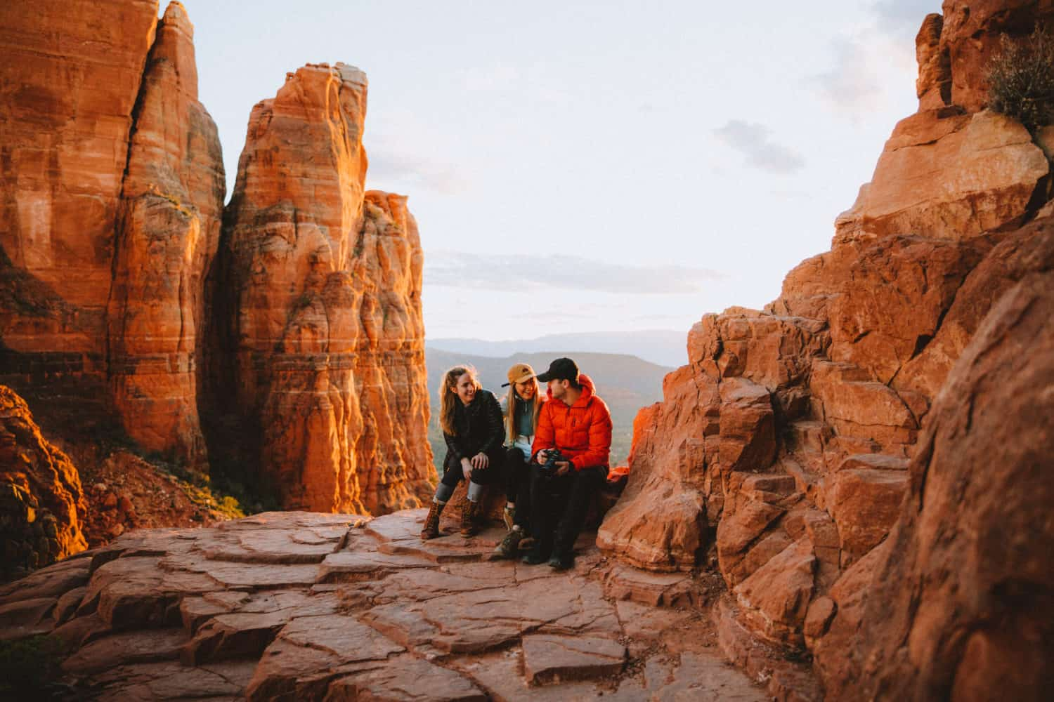 Emily Mandagie, Renee and Matthew Hahnel at Cathedral Rock Sedona - TheMandagies.com