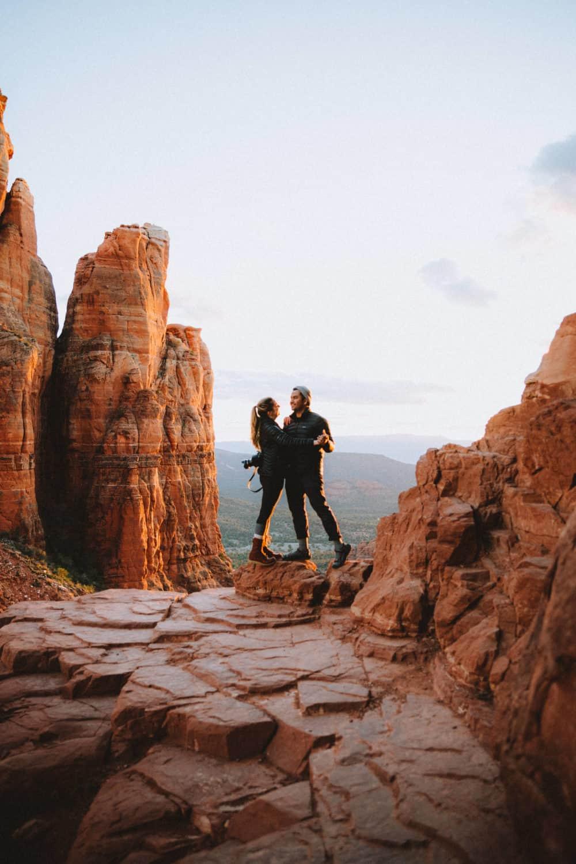 Berty and Emily Mandagie dancing together at Cathedral Rock Sedona - TheMandagies.com
