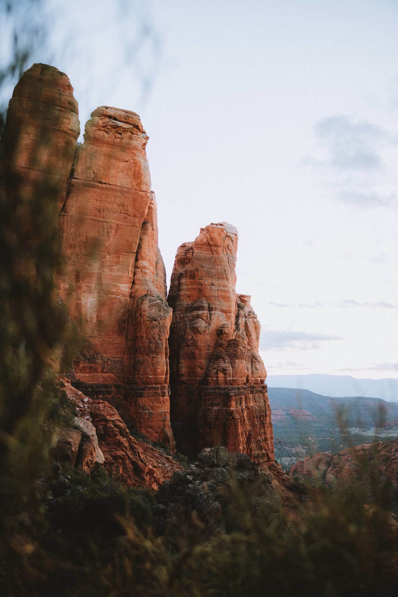 View of Cathedral Rock during sunset -TheMandagies.com