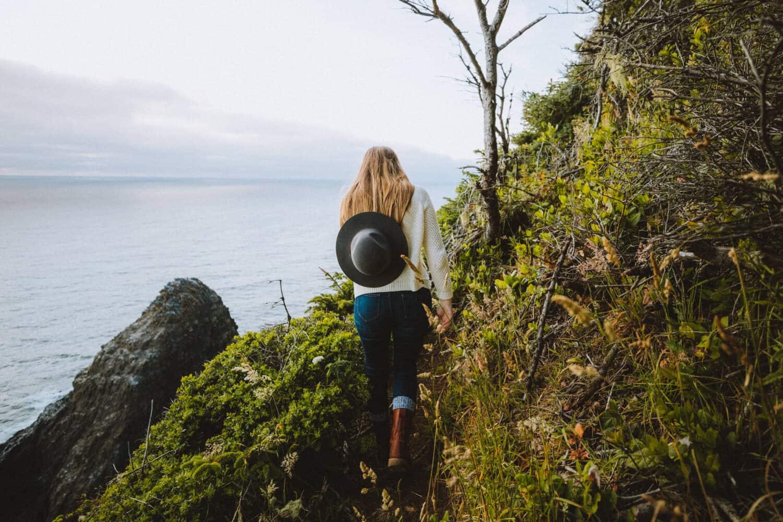 Emily Mandagie hiking Oregon Coast