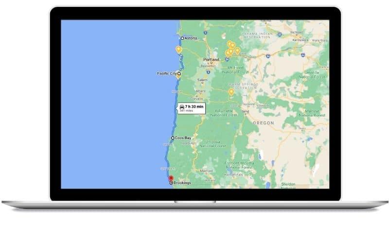 Oregon Coast 3 Day Itinerary Route