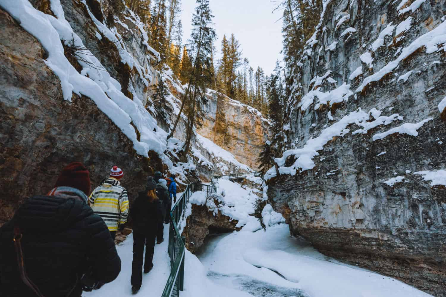 View of Gorge in Johnston Canyon in winter