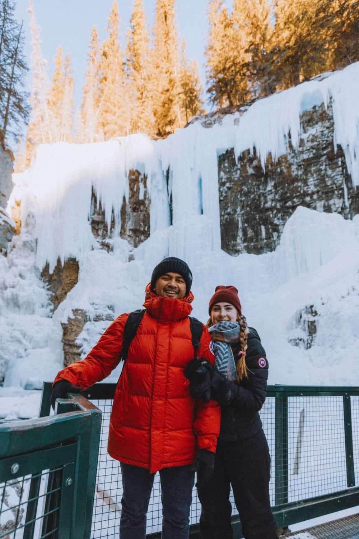 Berty and Emily Mandagie during Banff Ice Walk