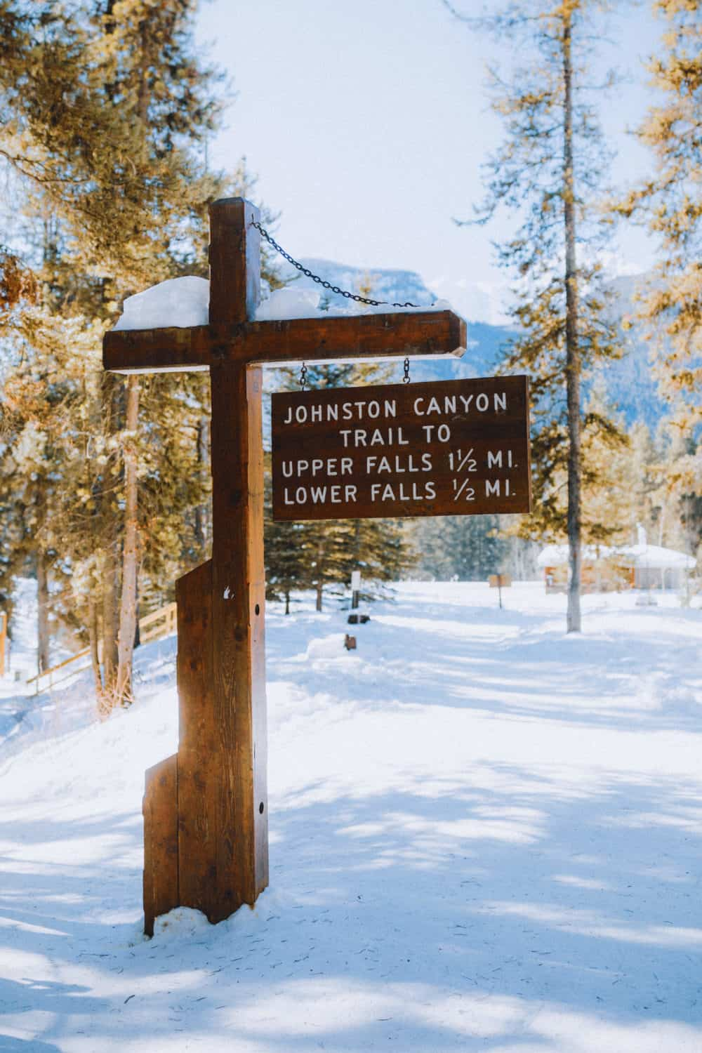 Johnston Canyon in Winter - Hiking Distance Sign