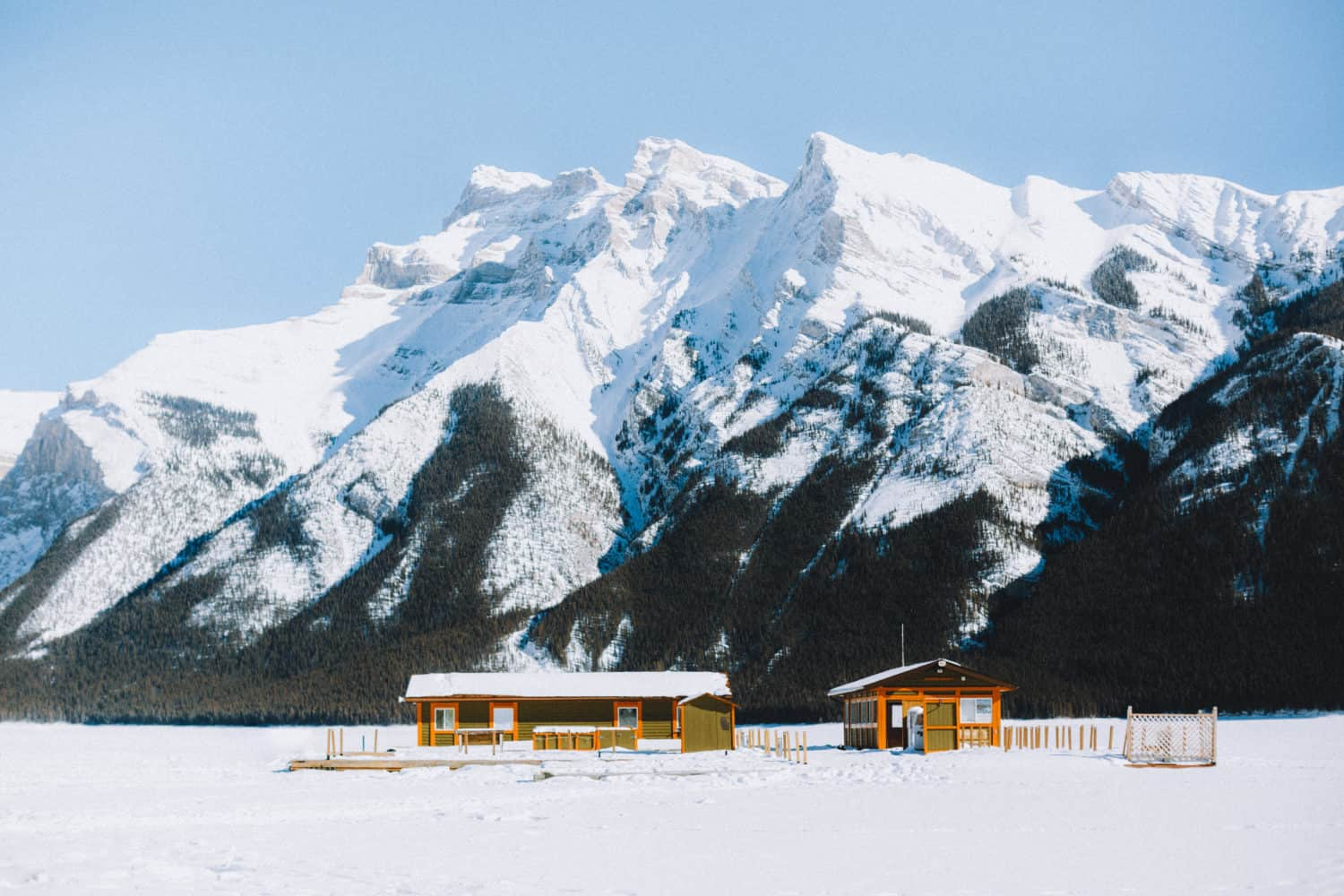 Lake Minnewanka Frozen Boat House - TheMandagies.com