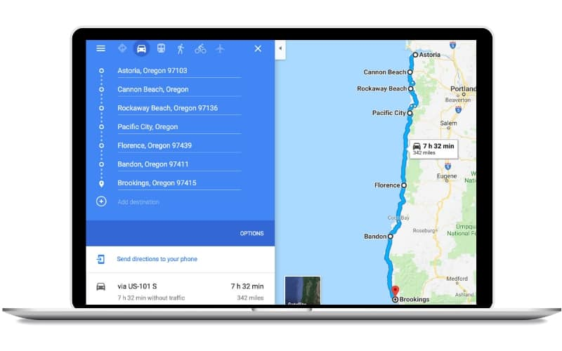 One Week Oregon Coast Road Trip Itinerary Map