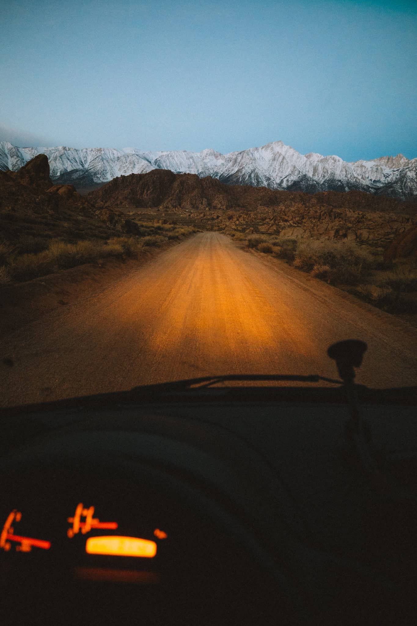 driving to Movie Road in Alabama Hills