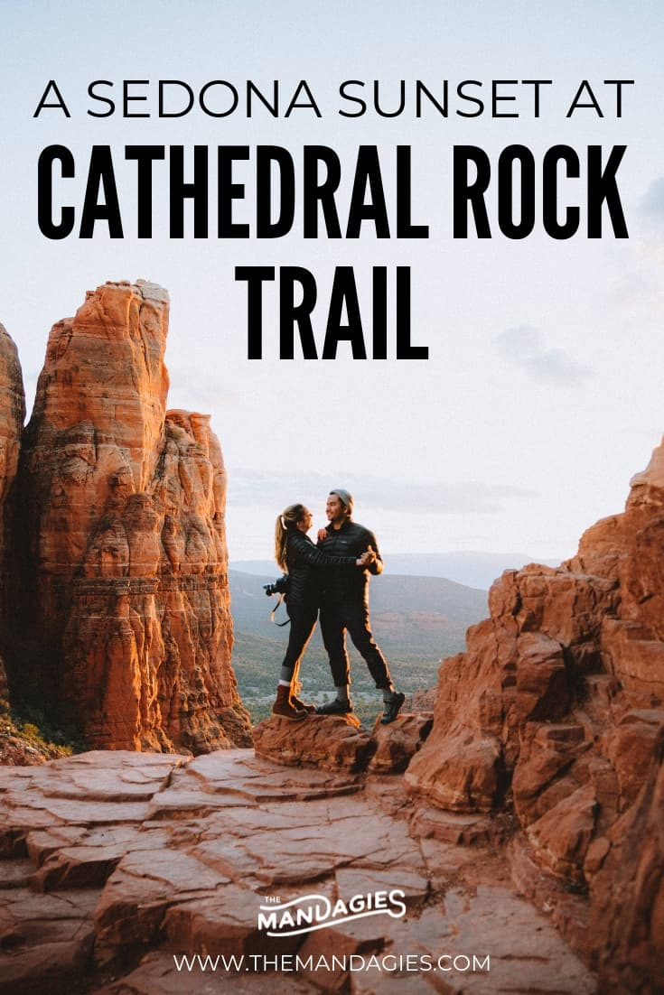 Taking a trip to Sedona, Arizona? Hiking Cathedral Rock Trail during sunset is a absolute must! We're sharing what to expect on the trail, tips for the best photos, and ways to make the most of your beautiful trip to the desert! #sedona #arizona #hike #trail #cathedralrock #vortex #sandstone #hiking #desert #cactus #sunset #travel #photography #explore #Canon #camera