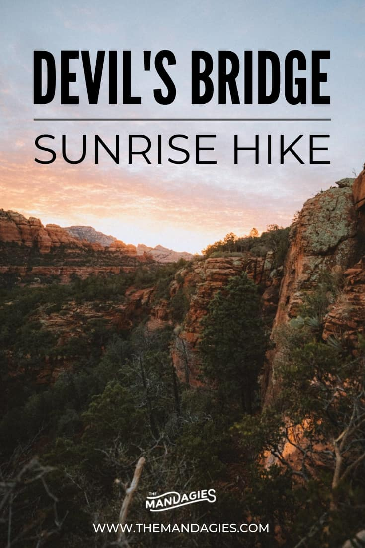 Discover Devil's Bridge hike and the unique experience of seeing this place at sunrise! We're sharing specific Sedona hiking tips, sunrise photography, and things to consider when exploring Devil's Bridge Trail. Click here to see more! #sedona #devilsbride #redrocksstatepark #arizona #hiking #t #ravel #desert #photography #sunrise #southwest #USA