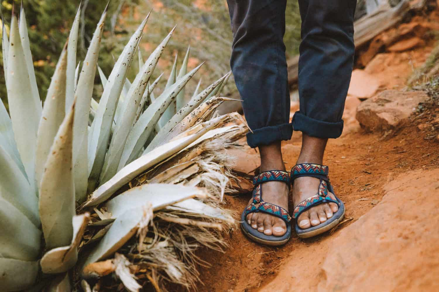 Berty's sandals next to a cactus in Sedona - TheMandagies.com