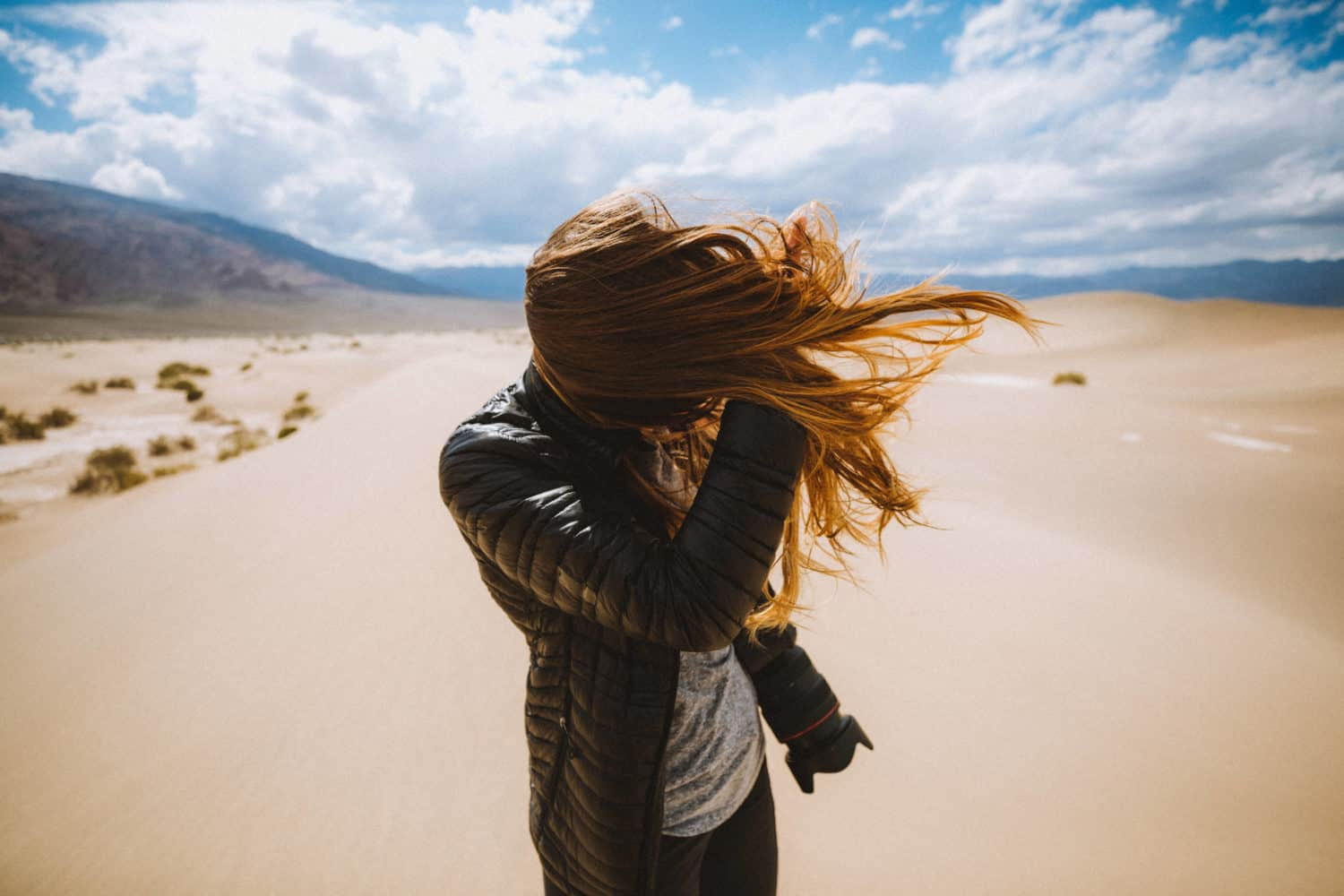 Emily Mandagie hair in wind at Death Valley
