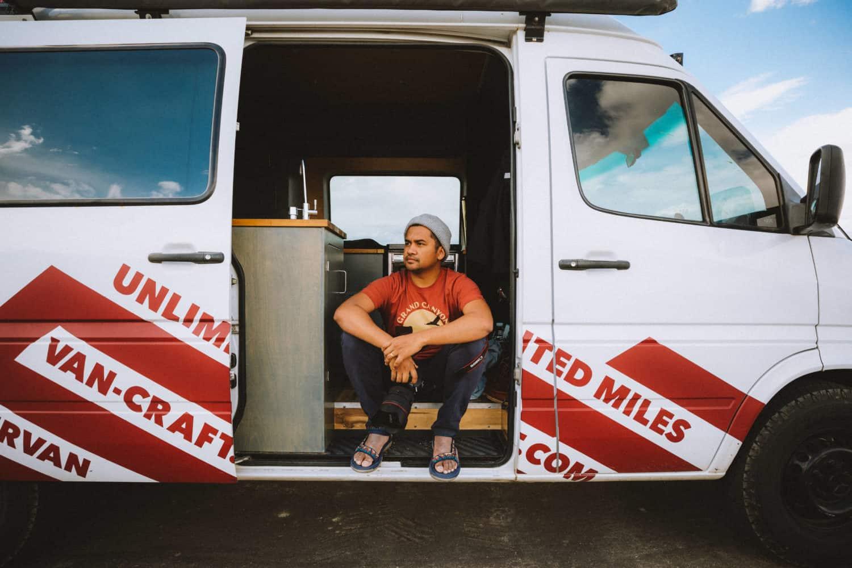 Berty sitting in sprinter van, Death Valley - TheMandagies.com