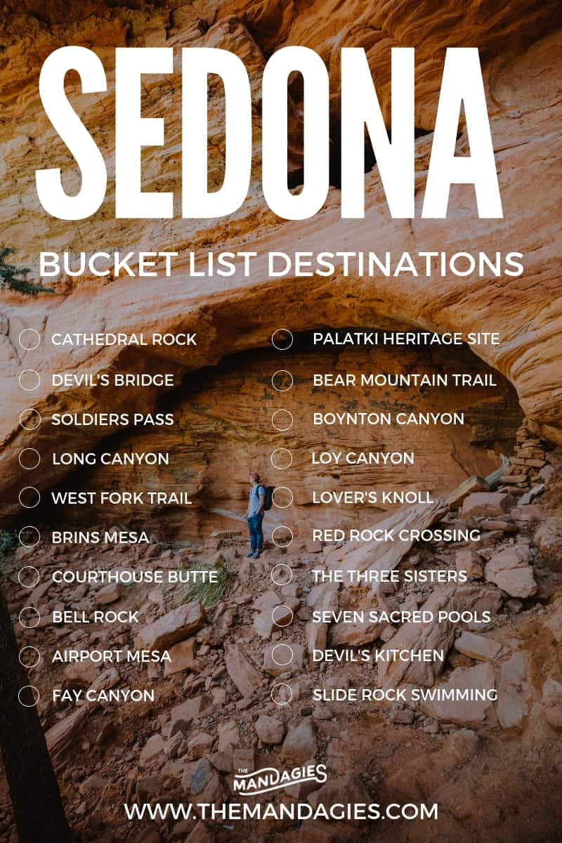 Sedona is one of the most beautiful destinations in the American Southwest! We're here sharing the best places to see and things to do in Sedona. Save this pin for your next vacation to Arizona! #sedona #arizona #hike #hiking #trails #desert #cathedralrock #devilsbridge #soldierspass #brinsmesa #airportmesa #bellrock #courthousebutte