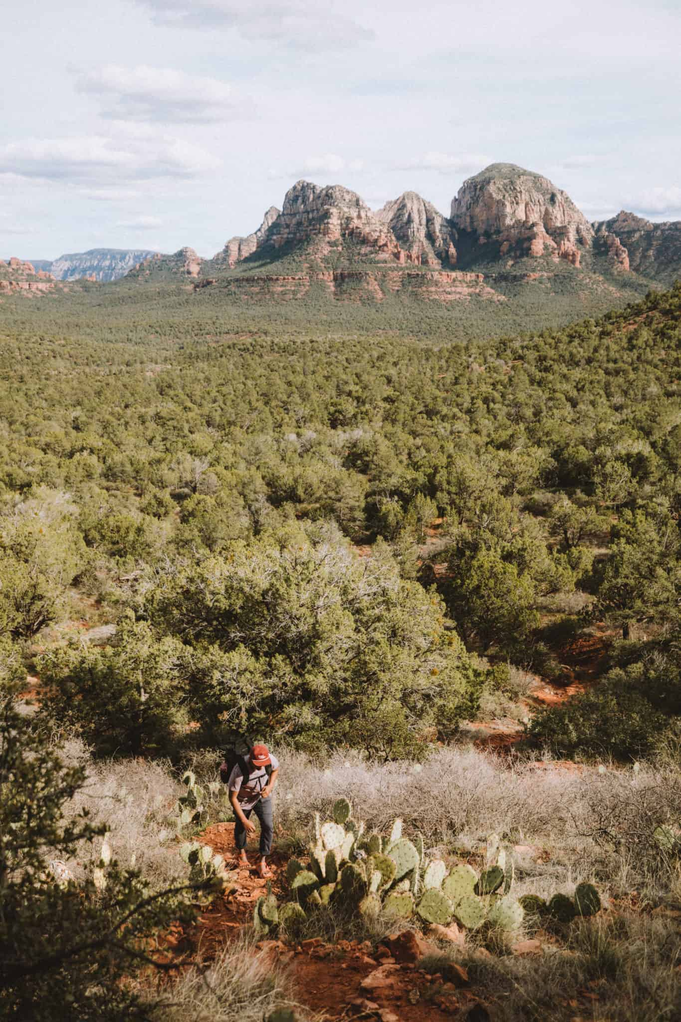 Berty on the steep trail to the birthing cave in sedona