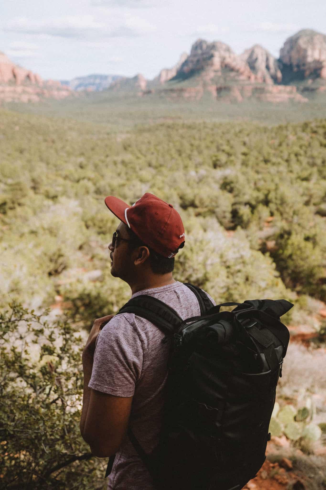 Berty Mandagie looking at Sedona desert view