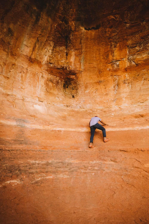 Berty climbing at the Birthing Cave - TheMandagies.com