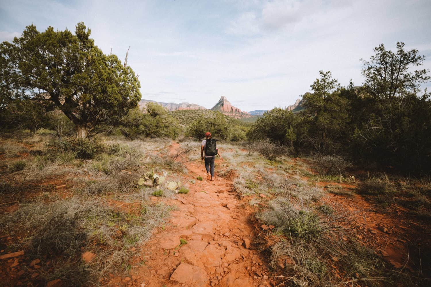 Berty on rock Birthing Cave trail in Sedona