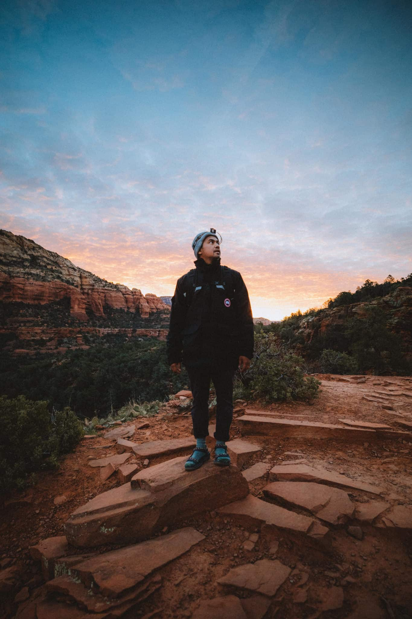 Berty with headlamp before sunrise at Devil's Bridge
