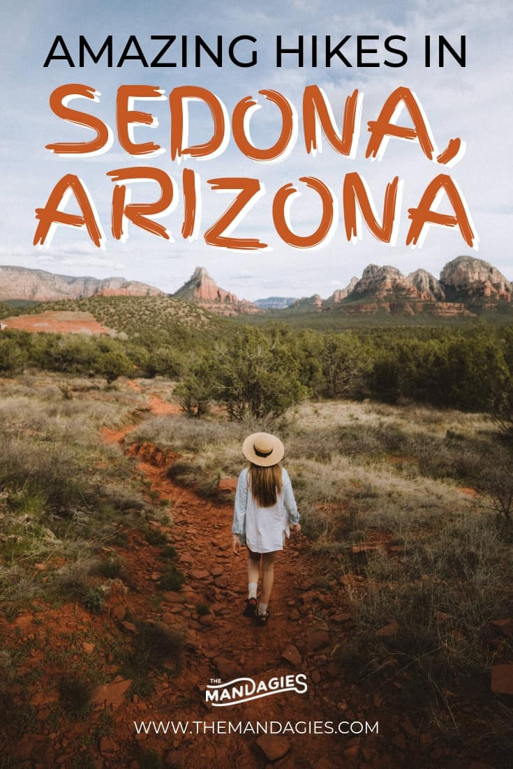 Discover amazing hikes in Sedona in this super detailed trail guide! We're sharing trail tips, the perfect Sedona packing list, and things to consider when out in the desert. Save this pin for your next vacation to Arizona! #sedona #arizona #hike #hiking #trails #desert #cathedralrock #devilsbridge #soldierspass